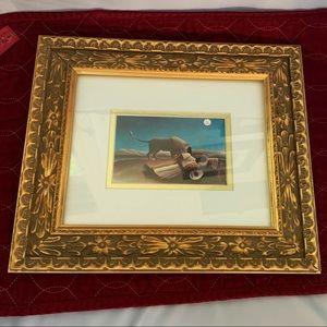 Vintage Wooden Picture Frame Ornate Raised Gold